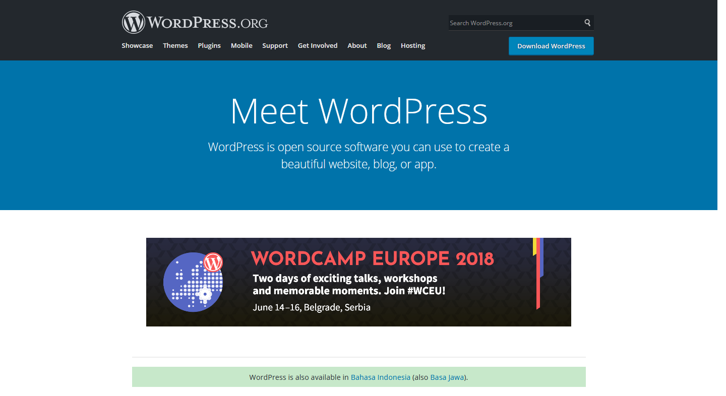 Tampilan Web WordPress org