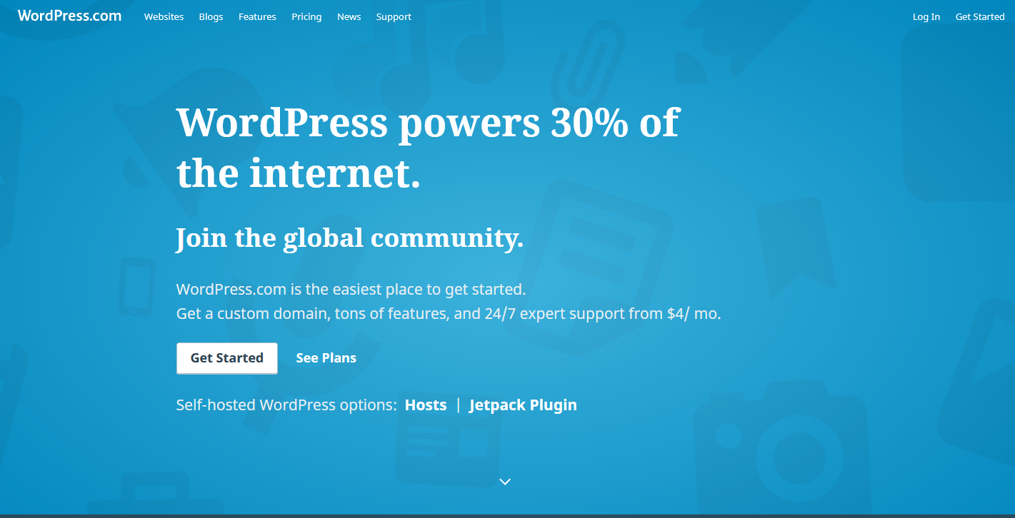 Tampilan Web WordPress com