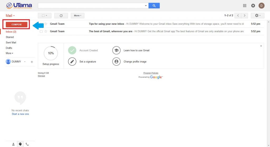 panduan email widyatama 5