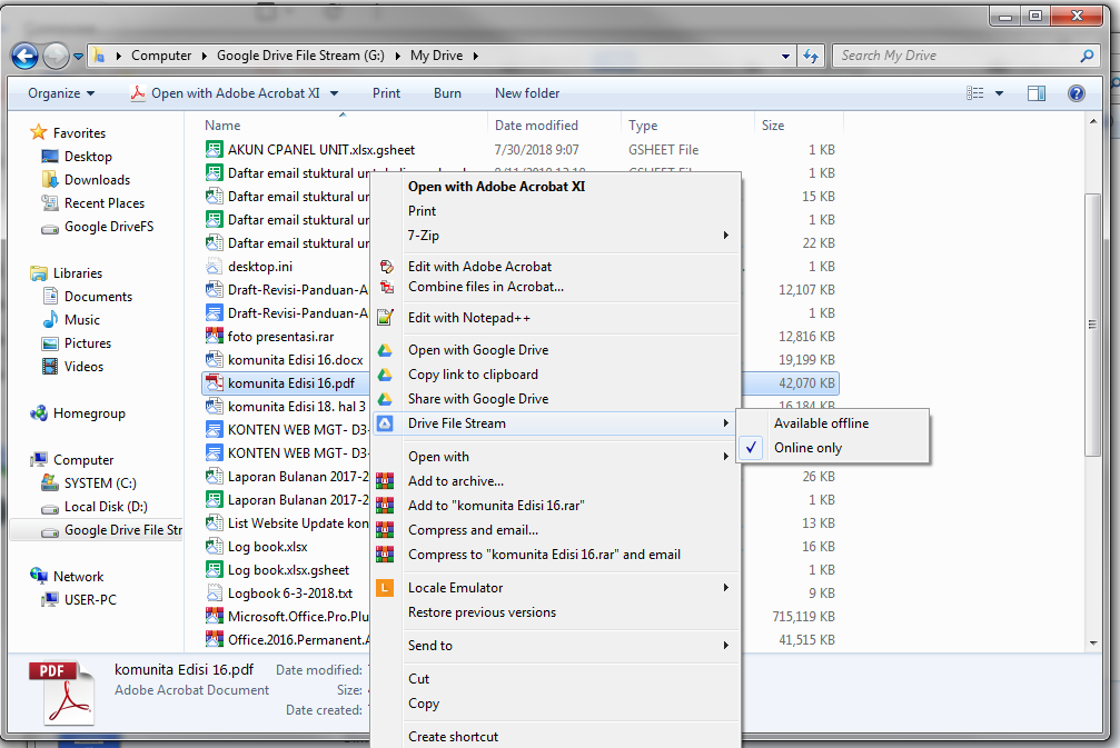 google drive file stream 7